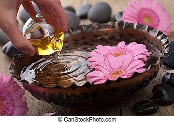 óleo essencial, para, aromatherapy