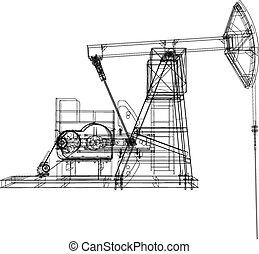óleo, fazendo, bomba, vetorial, jack., 3d