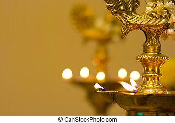 óleo, festival, diwali, período, lâmpada, durante