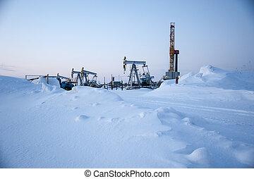 óleo, field., equipamento perfurando, e, óleo, pump.