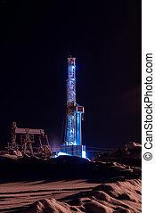 óleo gás, equipamento perfurando, em, night., equipamento perfurando, e, jaque bomba, operação, ligado, a, óleo, platform.