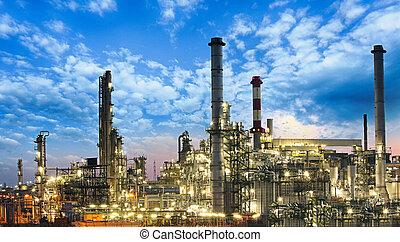 óleo gás, indústria, -, refinaria, fábrica, planta...
