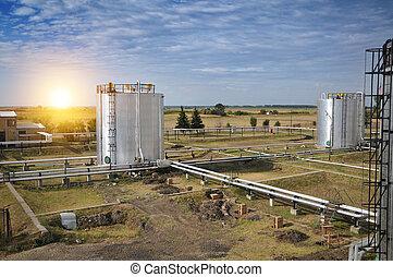 óleo gás, planta processando