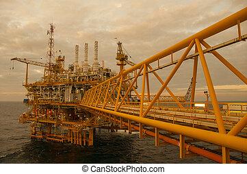 óleo gás, plataforma, em, golfo