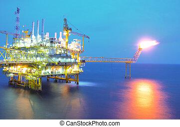 óleo gás, platform.