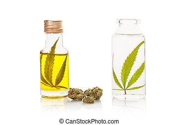 óleo, garrafas, álcool, buds., marijuana, cannabis, extrato