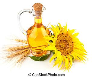 óleo girassol, com, flor