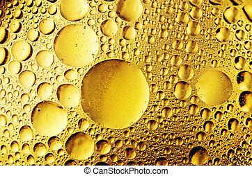 óleo, gotas, ligado, a, água