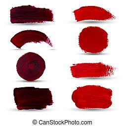 óleo, grunge, manchas, spots., set., mão, pintura, vetorial,...
