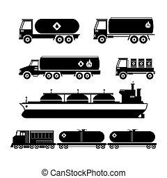 óleo, indústria transporte, veículos, jogo, silueta