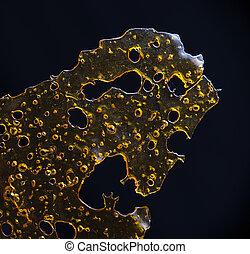 óleo, isolado, detalhe, fragmentar, marijuana, cima,...