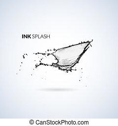 óleo, isolado, respingo tinta, tinta preta, branca, ou