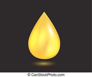 óleo, líquido, drop., amarela, vetorial, queda, illustration.