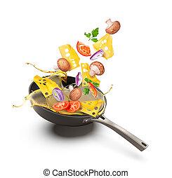 óleo, legumes, isolado, cogumelos, fundo, fritar, branca, panela