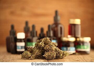 óleo, médico, concept., negócio, cannabis, cânhamo, marijuana