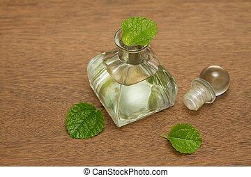 óleo, madeira, menta, aroma, fundo, fresco, hortelã, essencial