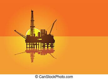 óleo, mar, ilustração, plataforma, pôr do sol, fundo