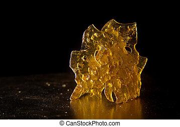 óleo, marijuana, fragmentar, cima, detalhe, concentrado,...