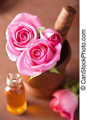 óleo, morteiro, aromatherapy, rosa, spa, flores, essencial