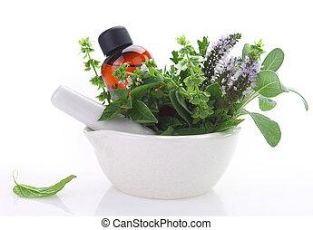 óleo, morteiro, ervas, garrafa, pilão, fresco, essencial