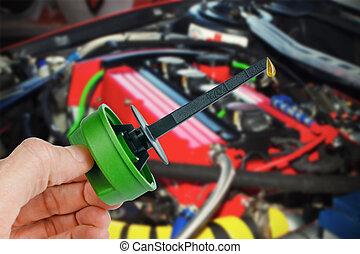 óleo motor, gota, dipstick, partes, sobressalente
