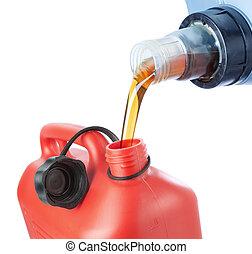 óleo motor, plástico, experiência., despejado, canister., branca
