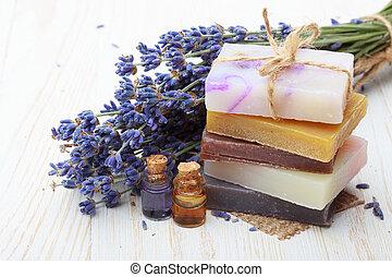 óleo, natural, madeira, feito à mão, lavanda, sabonetes, ...