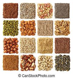 óleo, nozes, sementes