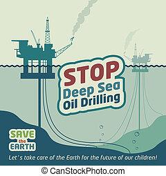 óleo, parada, fundo mar, perfurar