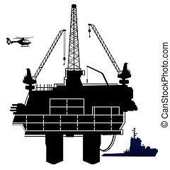 óleo, perfurar offshore, guarneça, área