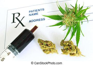 óleo, prescrição, médico, marijuana, papel, resíduo