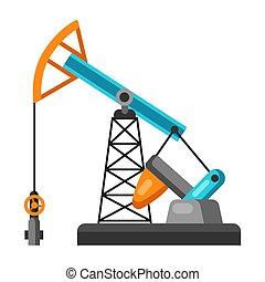 óleo, pumpjack., ilustração