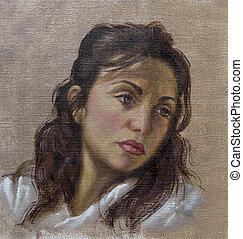 óleo, retrato, de, um, mulher jovem, com, dela, cabelo baixo