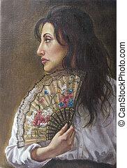 óleo, retrato, de, um, mulher jovem, com, dela, ventilador