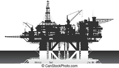 óleo, rig., profundo, plataforma, sea., mar