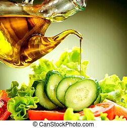 óleo, salada, saudável, vegetal, vestindo, azeitona