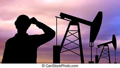 óleo, silueta, trabalhador, bomba, jaque preto