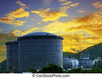 óleo, tanque, armazenamento, local, refinaria, construção,...