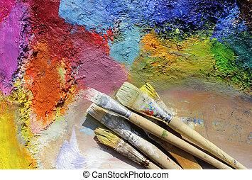 óleo, tintas, paleta, e, pintar escovas