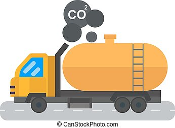 óleo, transporte, illustration., car, petróleo, vetorial, logistic, tanque