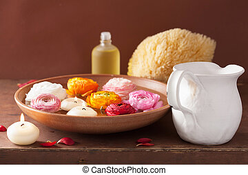 óleo, velas, ranunculus, spa, flores, essencial