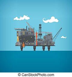 óleo, vetorial, mar, plataforma, ilustração