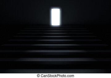 ólmozás, darkn, lépések, fény