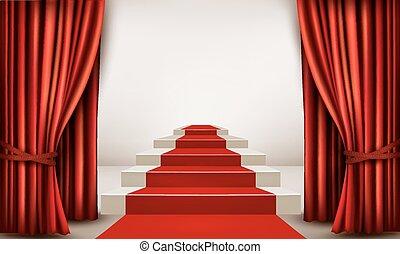ólmozás, pódium, vektor, kiállítási terem, curtains., piros ...