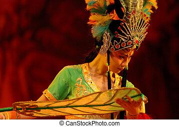 ópera, china, ventilador, princesa, hierro