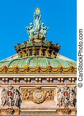 ópera, garnier, tejado, parís, ciudad, francia