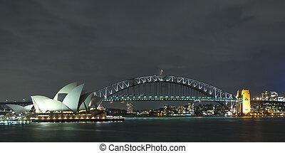 ópera, puente, noche, puerto, casa