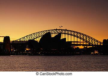 ópera, puente, puerto de sydney