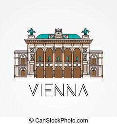ópera, símbolo, -, estado, austria., viena