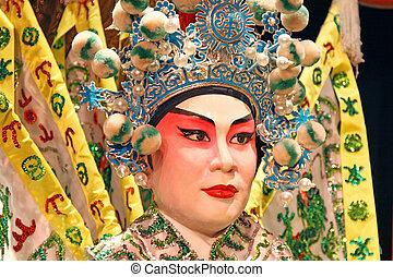 ópera, vacío, cantonese, close-up.